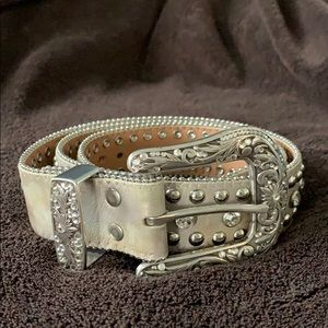 Silver Leather Western Belt with Crystals